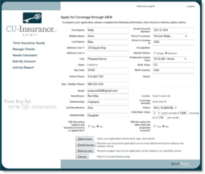 Insurance underwriting application